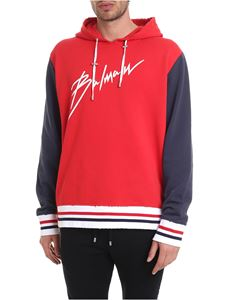 Balmain - Red and blue distressed sweatshirt