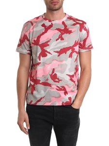 Valentino - Beige, red and pink camouflage print T-shirt