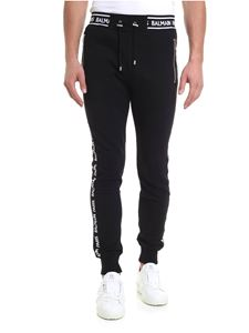 Balmain - Black trousers with logo band