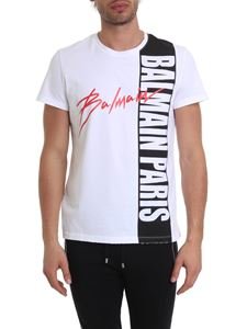 Balmain - White T-shirt with Balmain logo print