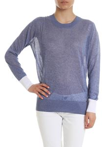 Fay - Lamè sweater in light blue