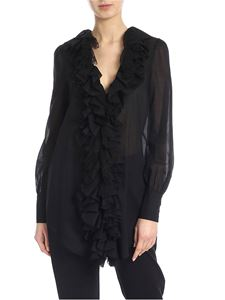 Blumarine - Ruffles and lace shirt in black