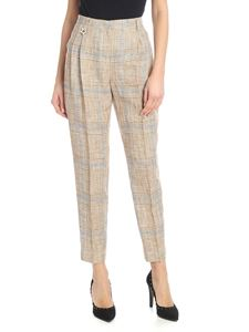 Lorena Antoniazzi - Checked pants with pleats in beige