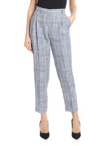 Lorena Antoniazzi - Checked pants with pleats in blue