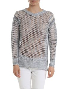 Lorena Antoniazzi - Openwork tricot pullover in light blue
