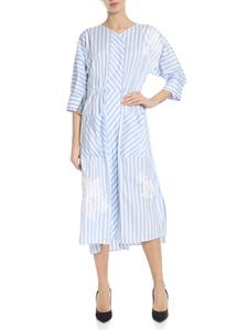 Lorena Antoniazzi - Striped dress in white and blue with decorations