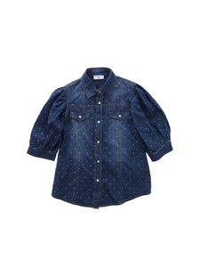 Monnalisa - Blue chambray shirt with rhinestones