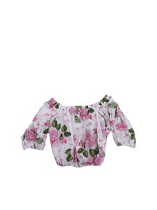 Monnalisa - Floral top in white and pink