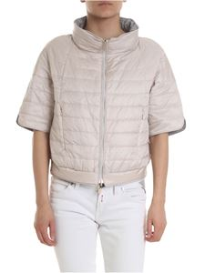 Diego M - Reversible crop down jacket in beige and gray