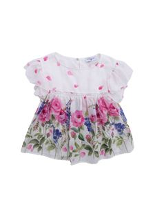 Monnalisa - Floral top in white with ruffles