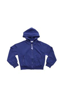 Monnalisa - Blue hoodie with vichy edges