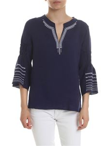 Le sarte pettegole - Blouse with contrasting embroidery in blue