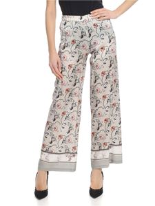 Kangra Cashmere - Floral Palazzo trousers in pearl gray