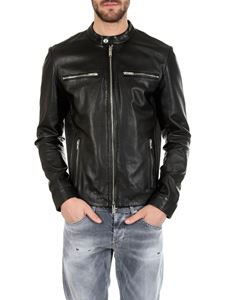 Dondup - Biker in black leather with ribbed sides