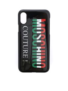 Moschino - Cover IPhone X nera con logo Moschino Couture