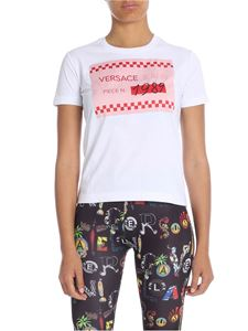 Versace Jeans - White crew neck T-shirt with pink print
