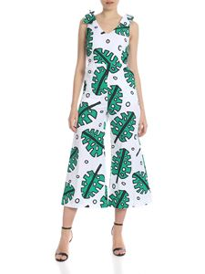 KI6? Who are you? - White jumpsuit with leaves print