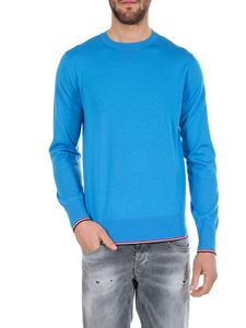 Moncler - Virgin wool pullover in bright light blue