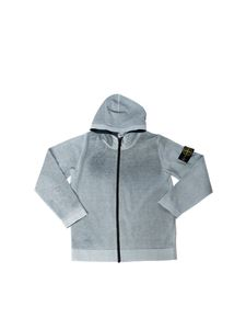 Stone Island Junior - Hooded cardigan in faded grey