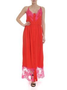 MSGM - Long dress in red silk blend
