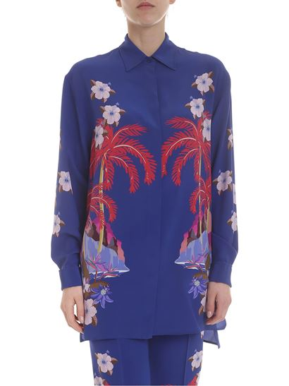 ce316fbdf147f9 Etro Spring Summer 2019 blue silk shirt with palms and flower print ...