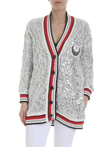 Ermanno Scervino - Coated cardigan in silver with logo patch