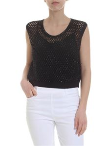 Ermanno Scervino - Boxy top in black perforated knit with rhinestones