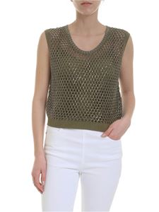 Ermanno Scervino - Boxy top in green openwork with rhinestones