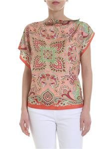 Etro - Paisley top in pink silk