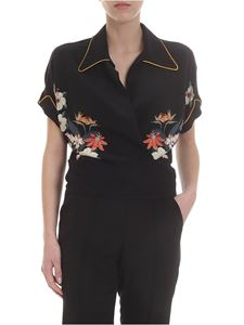 Etro - Blouse in black silk with floral pattern
