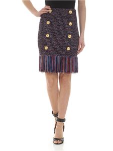 Balmain - Fringed skirt with Balmain buttons