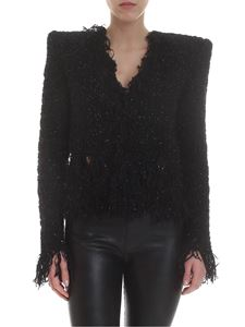 Balmain - Fringed tweed jacket in black