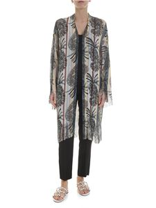 Etro - Fringed paisley cardigan in white and light blue