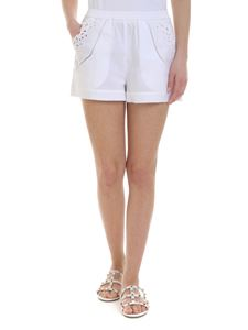 Ermanno Scervino - Embroidered cotton shorts in white