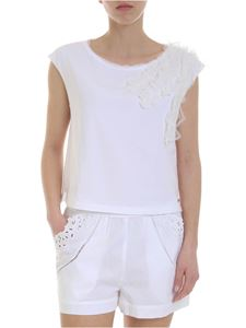 Ermanno Scervino - White crop top with embroidered ruffles