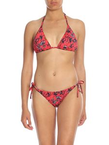 Paul Smith - Bikini top in coral pink with floral print
