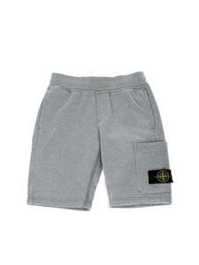 Stone Island Junior - Bermuda in grey color with Stone Island logo