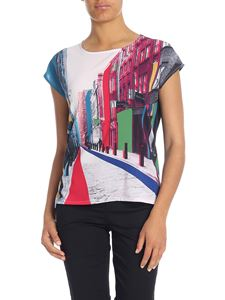 Paul Smith - T-shirt blu con stampa Floral Street