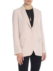 Blumarine - Single-breasted jacket in pink with lace inserts