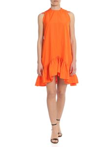 MSGM - Sleeveless flounced dress in orange