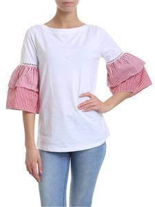 KI6? Who are you? - T-shirt in white with striped ruffles