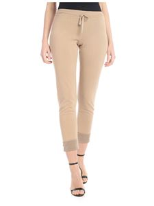 Kangra Cashmere - Beige knitted trousers with lamè thread