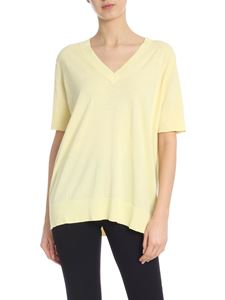 Kangra Cashmere - V-neck pullover in yellow cotton