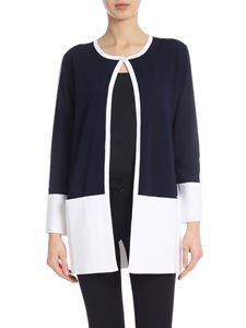Kangra Cashmere - Cardigan with pockets in blue and white
