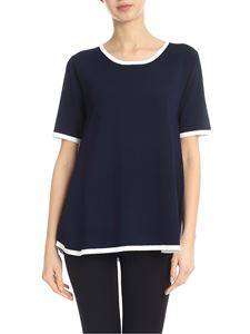 Kangra Cashmere - Blue T-shirt with white edges