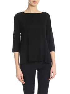 Kangra Cashmere - Black sweater with side vents