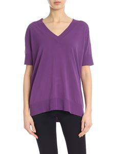 Kangra Cashmere - V-neck pullover in purple