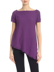 Kangra Cashmere - Purple knitted t-shirt with fringed hem