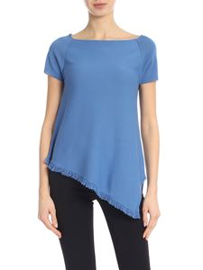 Kangra Cashmere - Light blue knitted t-shirt with fringed hem