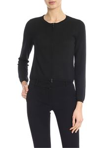 Kangra Cashmere - Black cardigan with mother of pearl zip pull